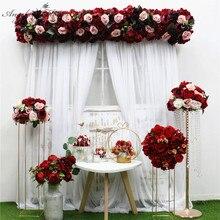 35/45/50cm DIY Borgoña vino rojo Bola de flores artificiales centros de mesa Decoración Para celebración de boda hilera de flores arreglo Navidad