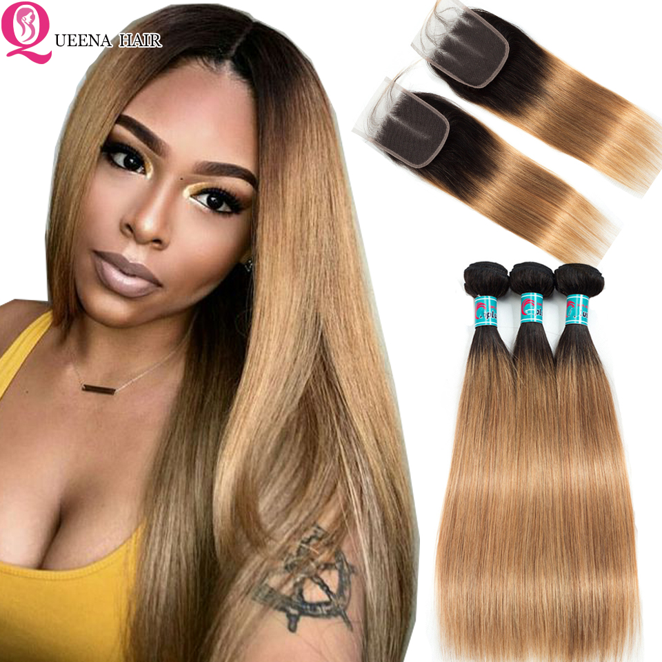 Raw Indian Straight Hair Ombre 1B/27 Bundles With Closure Pre-colored Human Hair Weave Ombre Blonde Bundles With Closure Remy