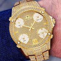 Relogio masculino missfox 51mm oversized dial 18 k relógio de ouro homem à prova dwaterproof água com ligação de aço inoxidável 5 fuso horário pulseira relógio Relógios de quartzo     -
