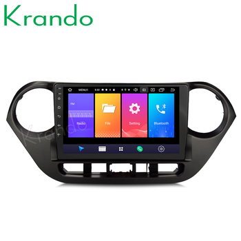 Krando Android 9.0 10.1 IPS Big screen car multimedia system for Hyundai Grand I10 2008-2012 navigtaion player GPS No 2din DVD image