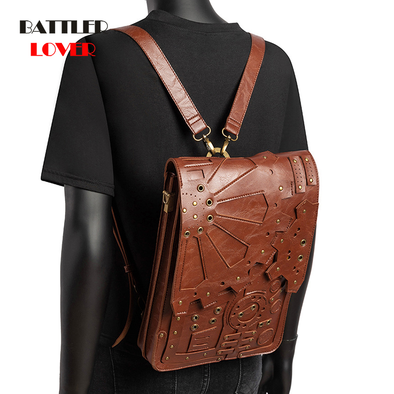 Vintage Shoulder Bag Women Backpack Steampunk Backpacks for School Teenagers Girls Rivet Casual Daypack Men