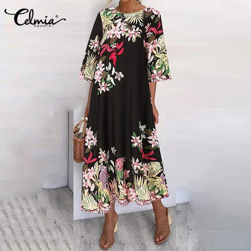 Celmia été bohème femmes imprimé Robe de plage demi manches Maxi Robe dété poches grande taille décontracté ample fête Vestidos Robe 7
