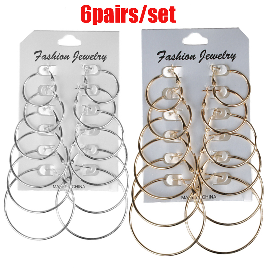 6Pairs /12Pairs Punk Hoop Earrings Set Big Circle Earrings Jewelry for Women Girls Steampunk Ear Clip Punk Earring Ear Ring