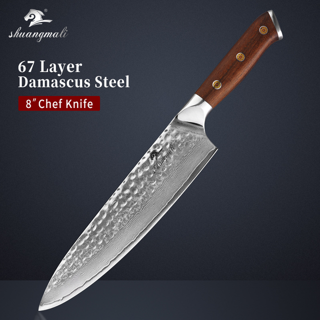 8 Inch Ironwood Handle Chef Knife Forged VG10 Damascus Steel Cleaver Kitchen Knives Gift Box Cutting Meat Slicing Chef Knives 1
