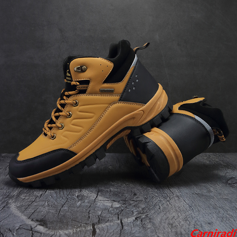 High Quality Leather Waterproof Hiking Shoes Men High Top Outdoor Climbing Casual Sneakers Male Non-slip Camping Trekking Boots