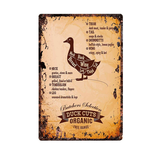 Kitchen Decor Tin Sign Duck Cuts Instruction retro Metal Wall Plaque cafe bar