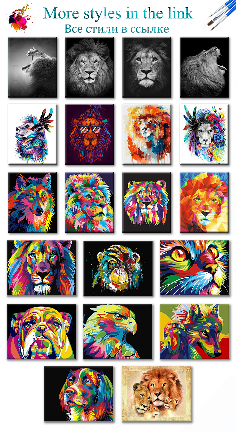 H0657497509aa4e378a28c38d29c79ca0E SDOYUNO 60x75cm Frame DIY Painting By Numbers Kits Colorful Lions Animals Hand Painted Oil Paint By Numbers For Home Decor Art
