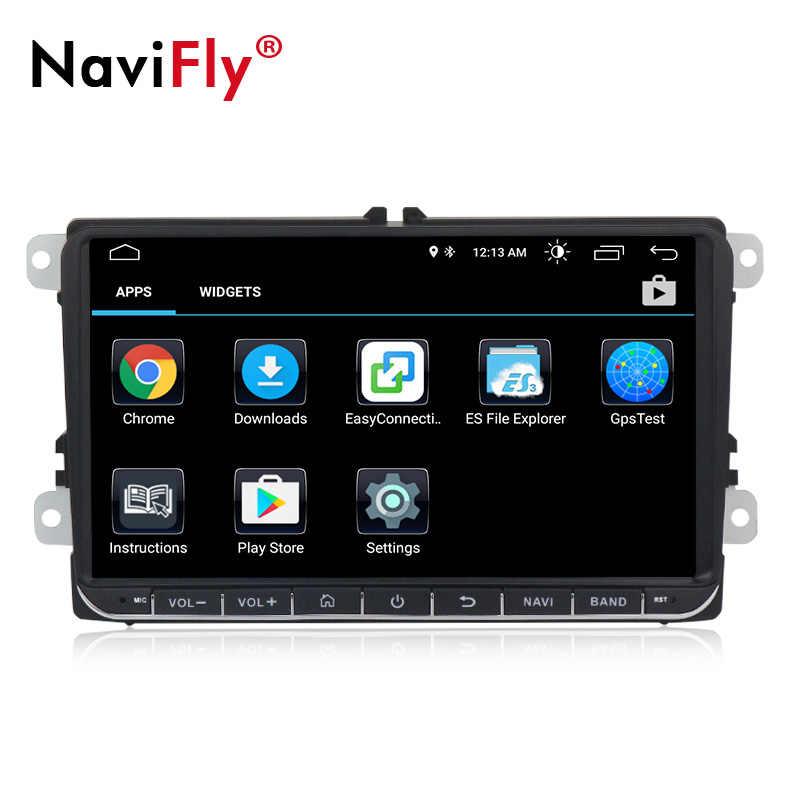 مشغل راديو سيارة 2 din من Navifly يعمل بنظام أندرويد 8.1 مزود بنظام تحديد المواقع لسيارات سكودا سيات فولكس فاجن B6 B7 باسات جولف بولو باسات سي سي سيارة متعددة الوسائط