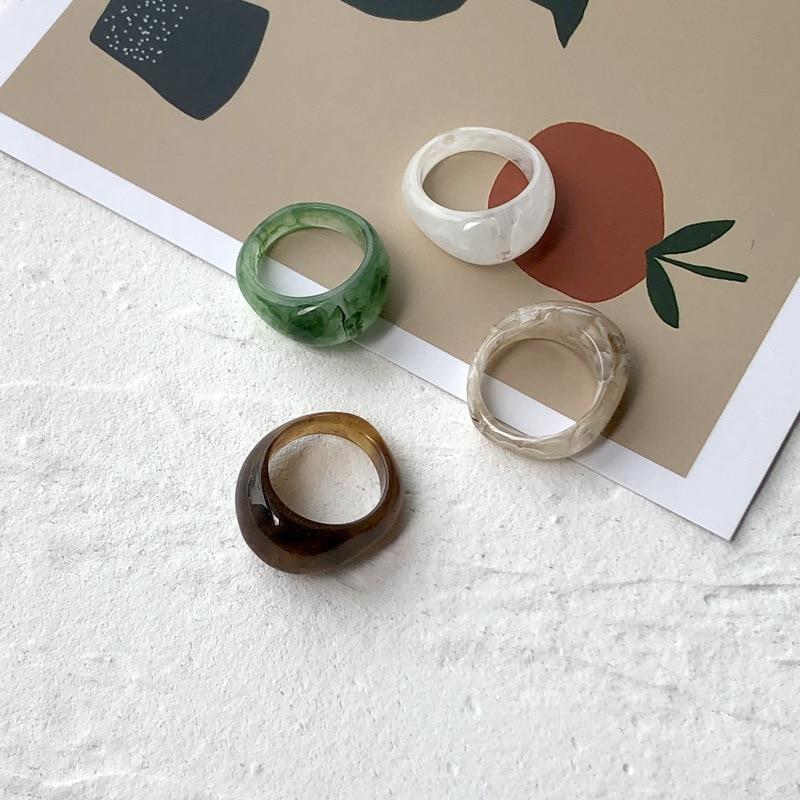 2020 шикарное ретро кольцо из смолы, женское коричневое зеленое разноцветное кольцо, Мужской палец, фотоальбом