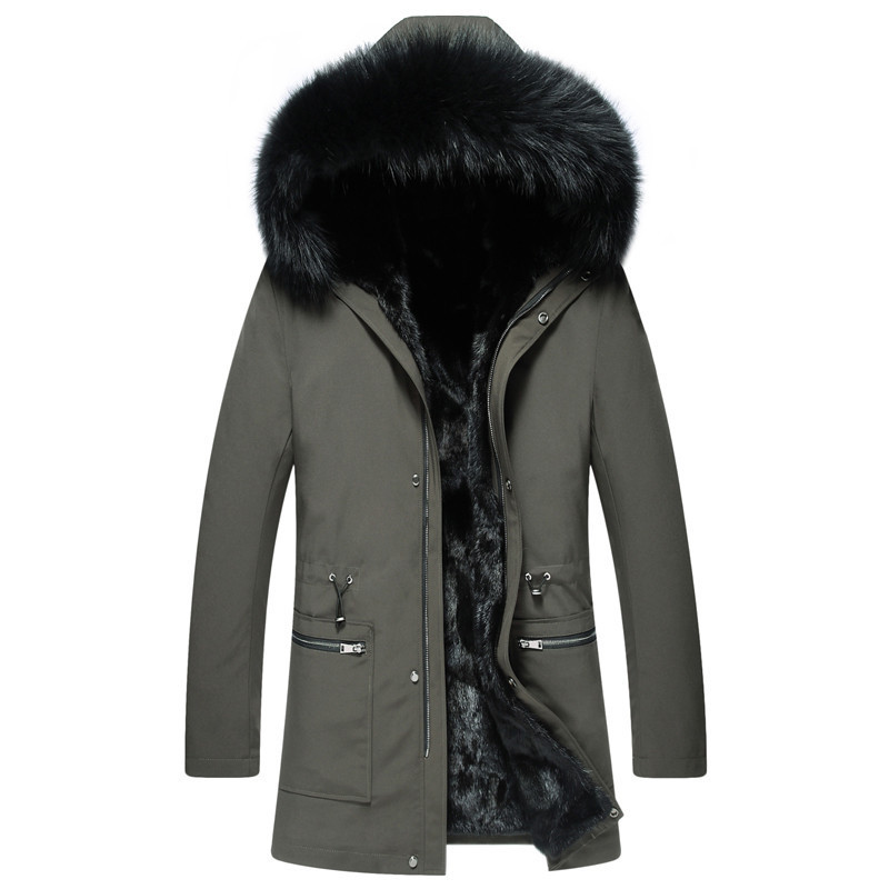 Real Fur Coat Men Natural Rabbit Fur Parka Men's Winter Jacket Clothes 2020 Mens Luxury Fur Warm Jacktes Plus Size SW21 YY833