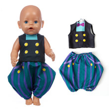 цена Reborn Doll Clothes Fit 17 inch 43cm American Baby New Born Blue Black Lantern Pants Boy Doll Clothes For Baby Birthday Gift онлайн в 2017 году