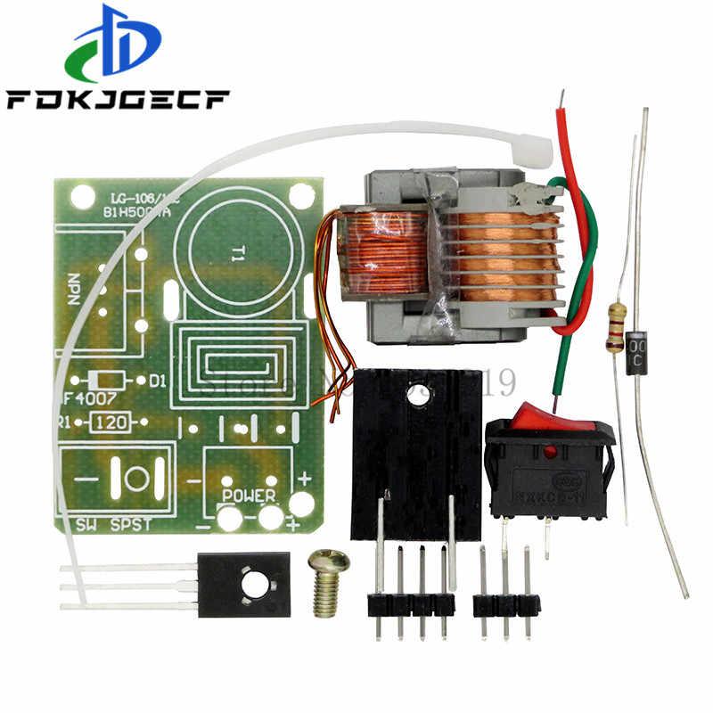 15KV Frekuensi Tinggi DC Tegangan Tinggi Arc Chute Generator Inverter Meningkatkan Langkah Up 18650 DIY Kit U Core Transformer Suite 3.7V