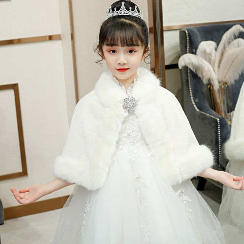 Little Girl Wedding Warm Shawl Wrap Princess Winter Plush Rhinestone Bolero Cape