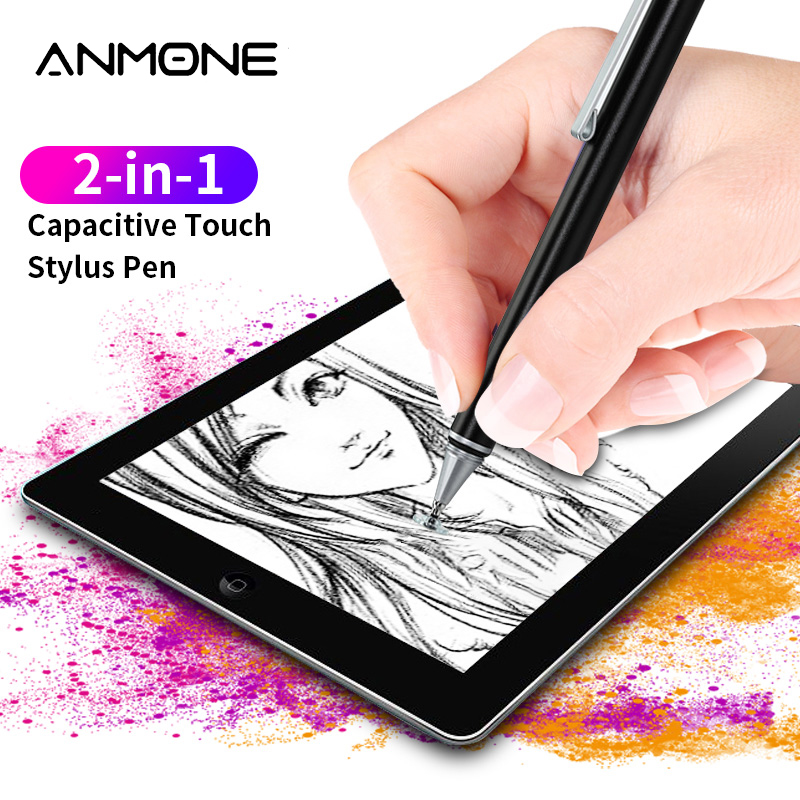 Metal Universal Capacitive Pencil 2 In 1 Touch Screen Stylus Pen Useful Design Tablet Pen For Smart Phone Tablet Drawing