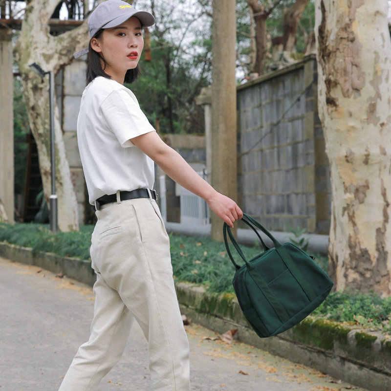Ougger pouco bolsas bolsas de ombro das mulheres verão branco lona simples negócios japão estilo meia lua saco com zíper