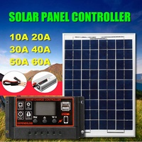 12/24V 10A~60A PWM USB Solar Charger Controller Regulator + Panel + Inverter Dual USB LCD Display Solar Panel Kit Set With Cable