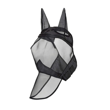 TOP!-Fly Mask Full Face Horse Fine Mesh Uv Protection with Ears Equine Long Nose Breathable Black