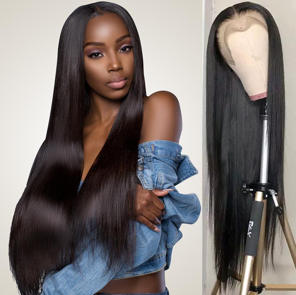 Peruca frontal do laço completa 30 Polegada peruca peruano em linha reta 4x4 encerramento peruca wowqueen remy reta frente laço perucas de cabelo humano