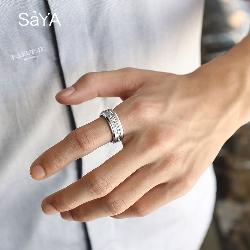 Bague pour hommes, anneaux en carbure de tungstène blanc de largeur 8mm, bijoux de mode avec des anneaux rotatifs de pierres CZ, personnalisés, livraison gratuite - 3