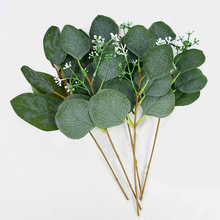 5Pcs Artificial Eucalyptus Leaves Fake Plants Artificial Leaves Branch Silk Green Eucalyptus Leaves For Wedding Party Home Decor