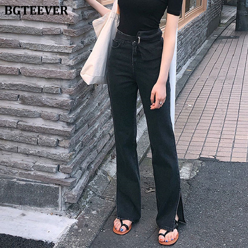 BGTEEVER Spring New High Waist Jeans For Women Chic Straight Denim Jeans Split Loose Streetwear Female Black Jeans Femme 2020