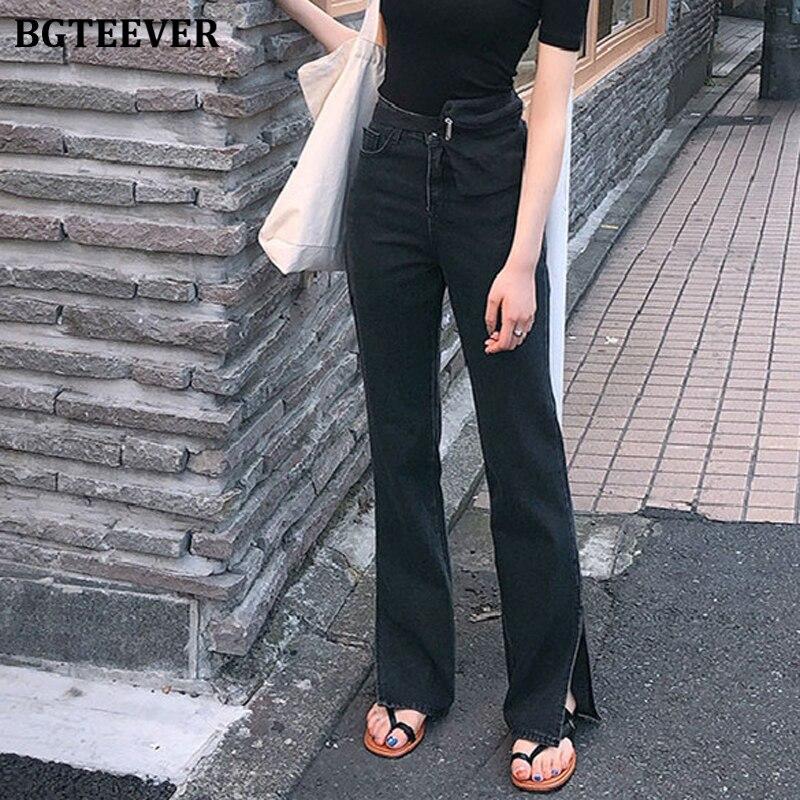 BGTEEVER Spring New High Waist Jeans For Women Chic Straight Denim Jeans Split Loose Streetwear Female Black Jeans Femme 2020
