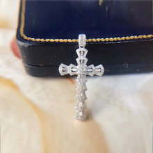Collier en argent Sterling 100% 925 véritable, pendentif en croix Moissanite naturelle, pierres précieuses Hip-hop, argent 925, bijoux en diamant
