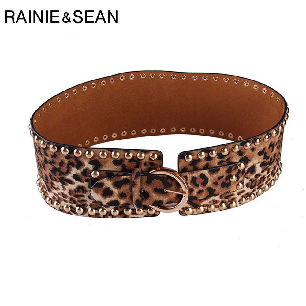 RAINIE SEAN Cummerbunds For Women Rivet Black Leopard 2019 Autumn Winter New Womens High Wide Waist Belts Vintage Female Corset