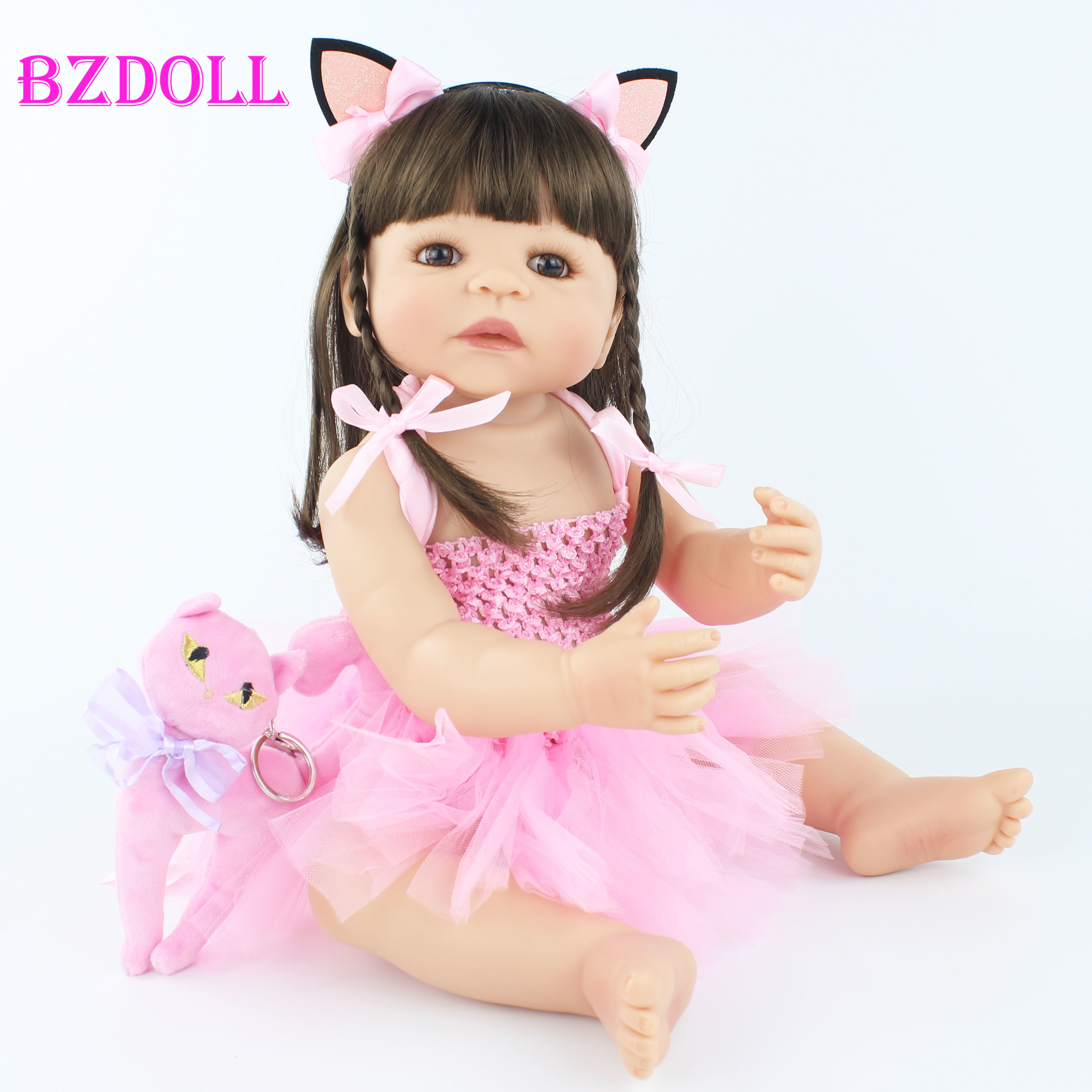 55cm Full Silicone Reborn Baby Doll Toy For Girl Newborn Princess Toddler Alive Babies Bebe Classic Boneca Bathe Shower Toy(China)