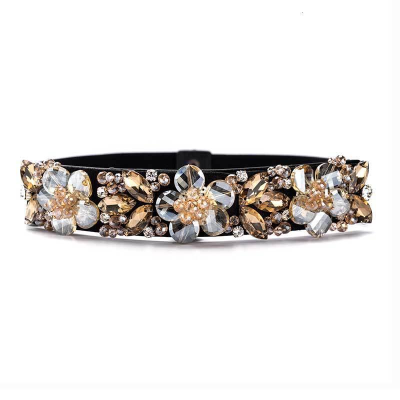 Women Elegant Rhinestone Belts Crystal Wide Decorated Waistband For Dress Vintage Female Designer Wide Elastic Belt Ceinture