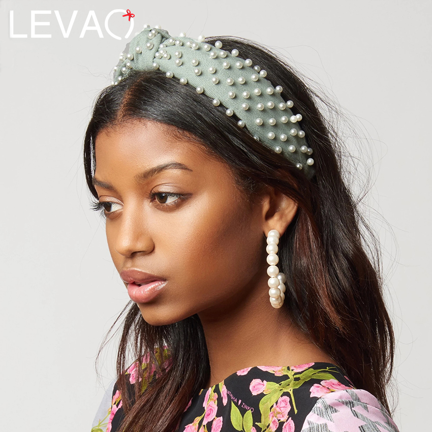 Levao Pearl Embellished Knot Headband Cross Knotted Pearl Hairband Hair Hoop Bands For Girls Pearl Beads Headbands Hair Bezel