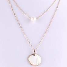 цена на Hot Sale White Pearl Fan Shaped  Shell Multilayer  Pendant Necklace For Women Girls Fashion Personality Party Necklace Jewelry