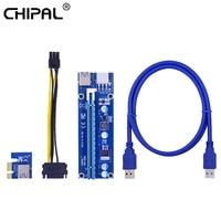 CHIPAL-Adaptador de tarjeta elevadora VER006C PCI-E, PCIE, PCI, Express, X1 a X16, extensor de Cable USB 3,0, Cable SATA a alimentación de 6 pines para tarjeta de vídeo