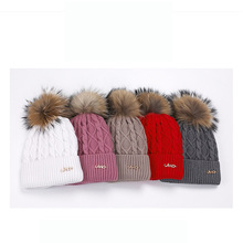 Hat female winter warm wool hat really velvet ball knit 2019 new, Russian new women
