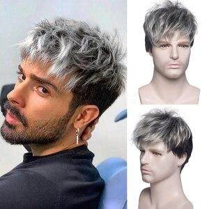 Мужской короткий вьющийся синтетический парик Омбре серый коричневый парик для мужчин повседневные реалистичные натуральные парики