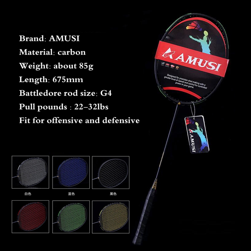 Carbon Fiber Badminton Racket G4 Professional Super Light Graphite Racquet With String 22-32LBS For Adult