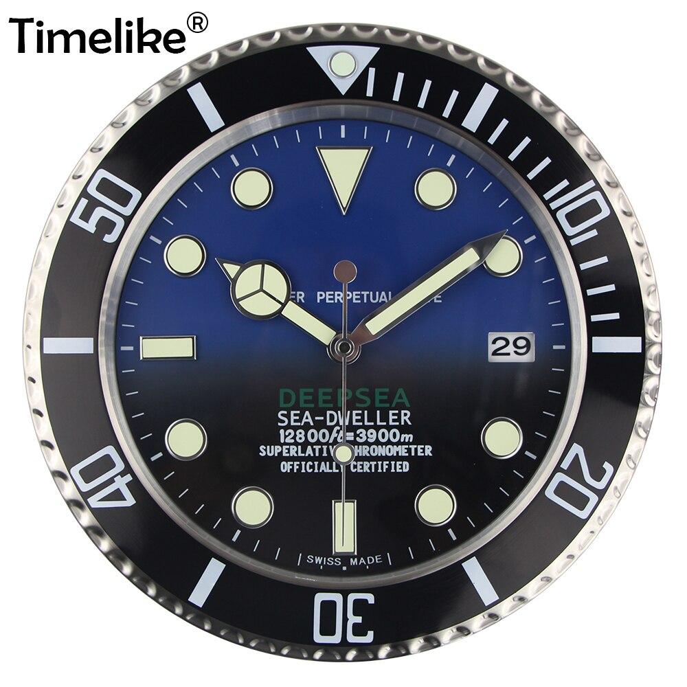 Luxury Design Wall นาฬิกาโลหะนาฬิกาศิลปะนาฬิกาผนังวันที่ Relogio De Parede Horloge Decorativo ที่สอดคล้องกันโลโก้-ใน นาฬิกาแขวนผนัง จาก บ้านและสวน บน   1