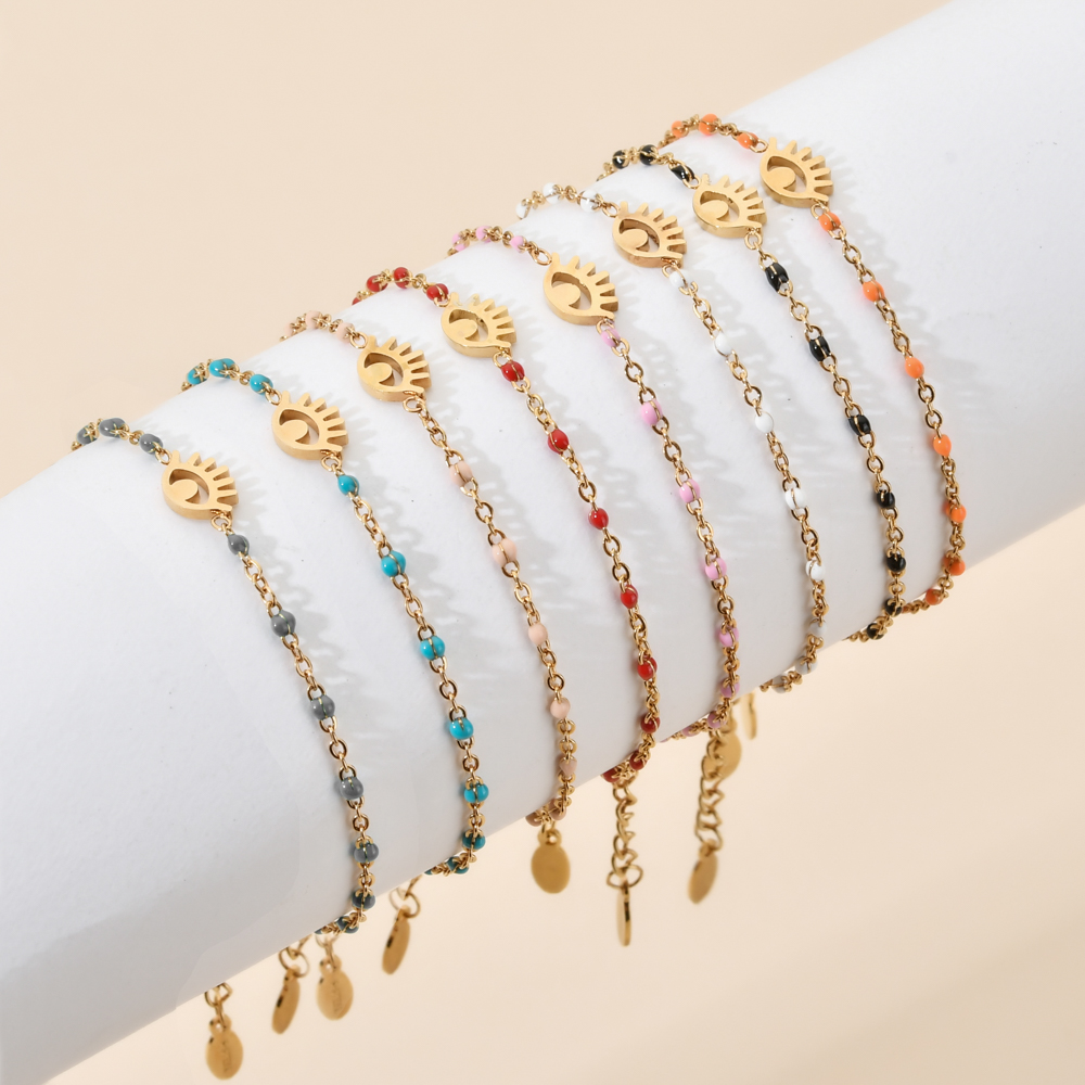 ZMZY Boho Style New Stainless Steel Gold Plated Link Chain Evil Eye Bracelet Bangle Charm Braclets Girls Jewelry Accessories
