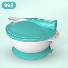лучшая цена AAG Children's Dishes Set Sucker Baby Food Feeding Tableware Plate Suction Baby Eating Bowl +Spoon Kids Assist Training Crockery