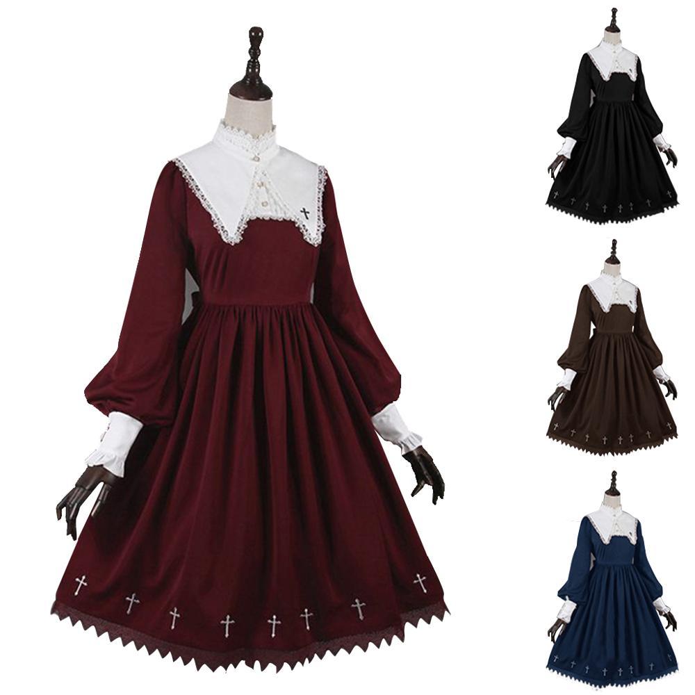 Cosplaydiy meninas feminino retro lolita mangas compridas vestido cosplay traje vestido de baile feito sob encomenda festa