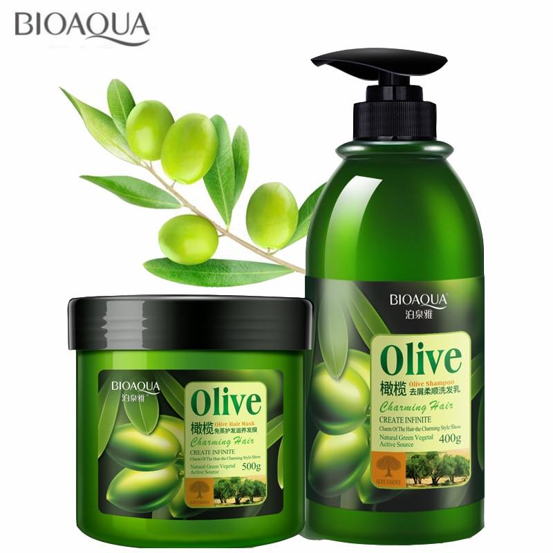 2PCS/lot BIOAQUA Shampoo Hair Mask Treatment Oilve Hair Care Sets Hair Conditioner Cleaning Nourish Repair Dry Hair 500g+400ml