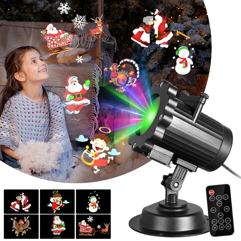 ABS Christmas 6W Projector Lights With Remote Control 6 Switchable Patterns Slides Landscape Motion Outdoor Projector Lights Led