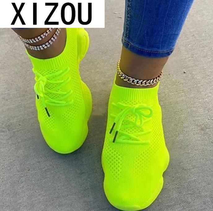 2020 New Mesh Platform Sneakers Women Casual Shoes Fashion Shallow Low Comfort Tenis Shoes Woman Sock Sneakers Zapatos Mujer