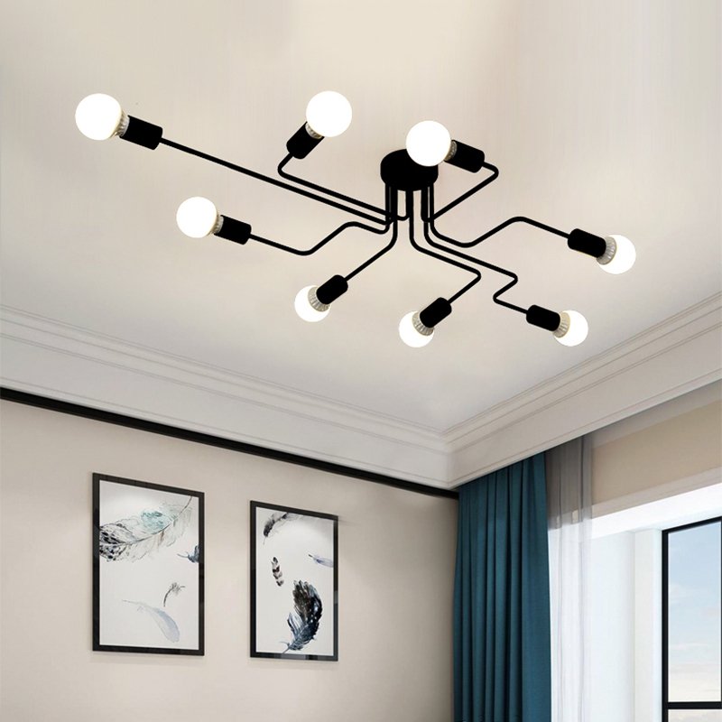 Modern LED Chandelier Lighting Fixtures Black Iron 4 6 8 Branch Ceiling Chandelier Vintage Industrial Lamp Living Room Bedroom