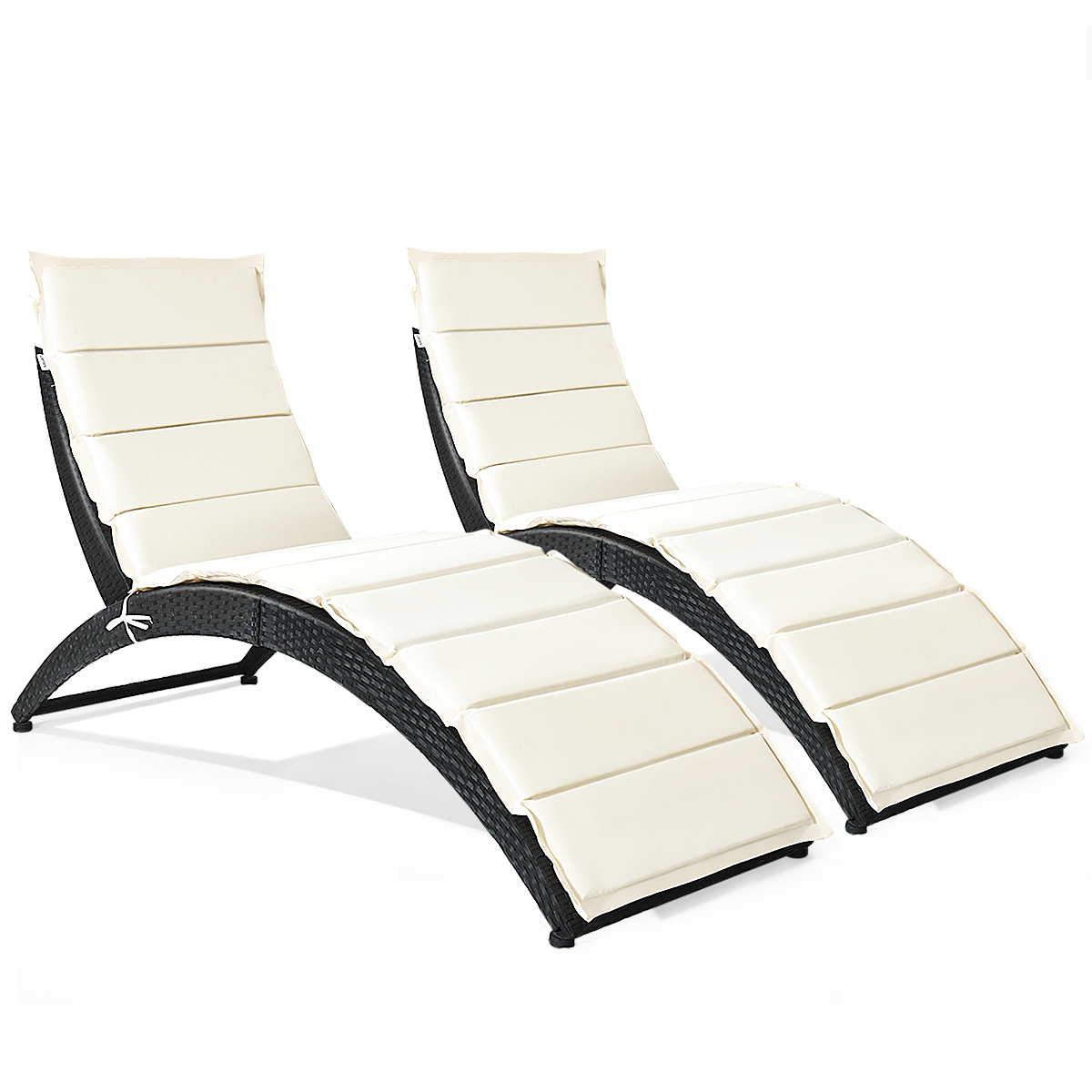 Costway 2PCS Folding Patio Rattan Lounge Chair Chaise Cushioned Portable Garden Black