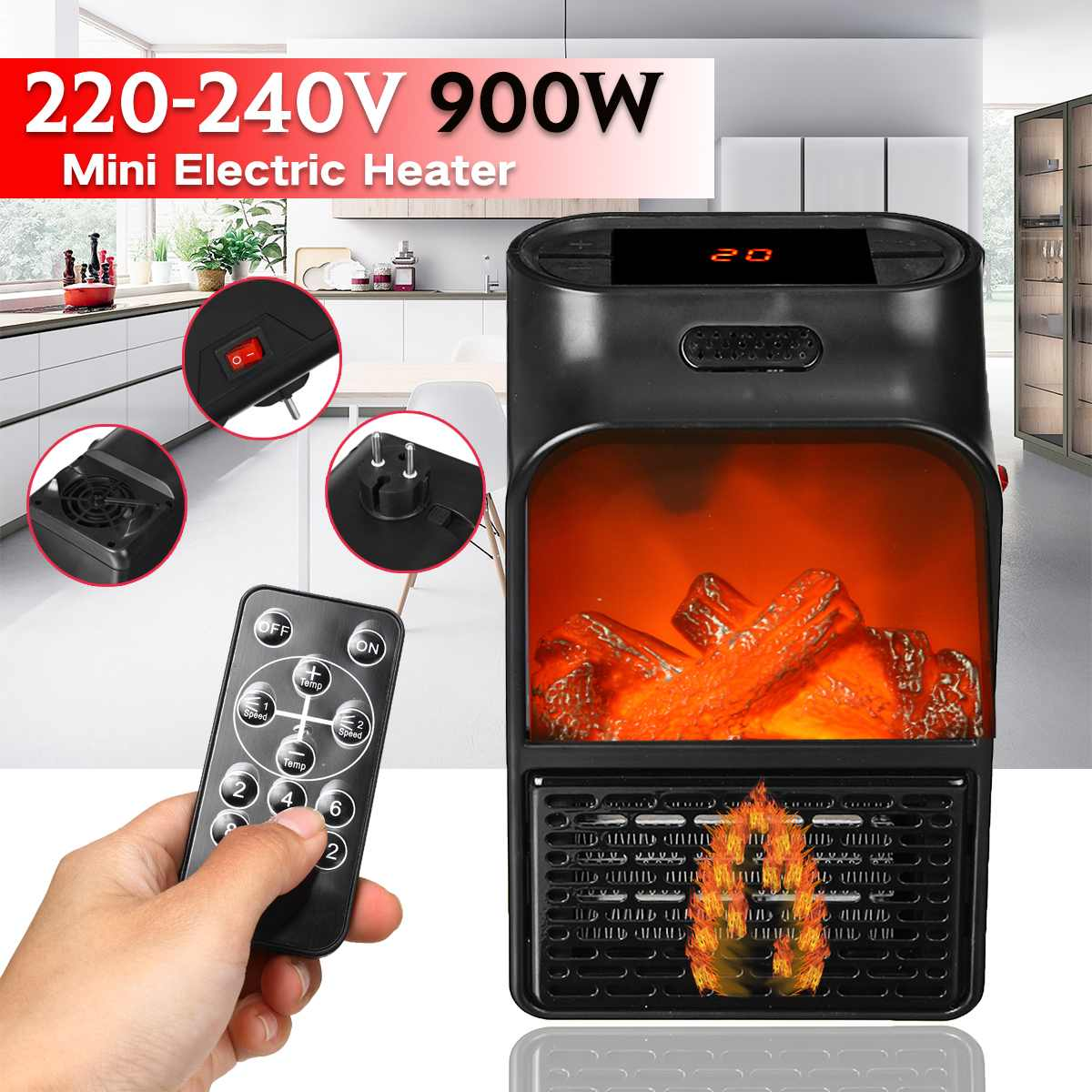 900W Mini Electric Heater Portable Electric Space Room Heater Air Heating Space Winter Warmer Machine With Remote Control