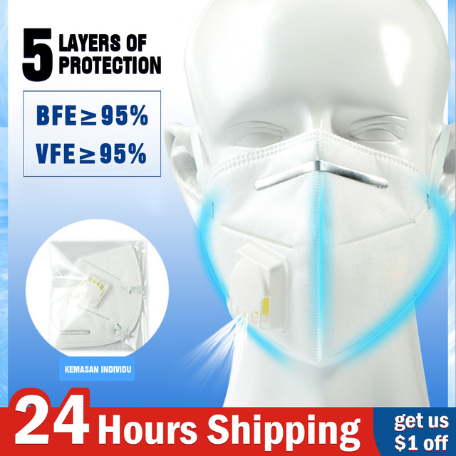 5PCS N95 N99 Reusable Valved Face Mask 6 Layers Filter Bacterial Flu Protection Face Mask Mouth Cover Pm2.5 Anti-Dust Masks