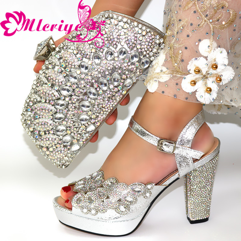 New Arrival Italian Shoes With Matching Bags Set Decorated With Rhinestone Women Italian African Party Pumps Shoes And Bag Set