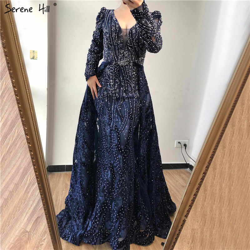 Dubai Blue Deep-V Crystal Sexy Evening Dresses 2019 Long Sleeves Luxury Mermaid Evening Gowns Serene Hill Plus Size LA70223