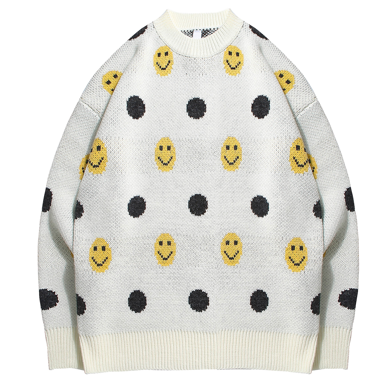 Men's Sweater Smiley Pattern Fine Knitted Jumpers Pullover Crewneck Casual Tops Retro Fashion For Young Boys Leisure Outdoor